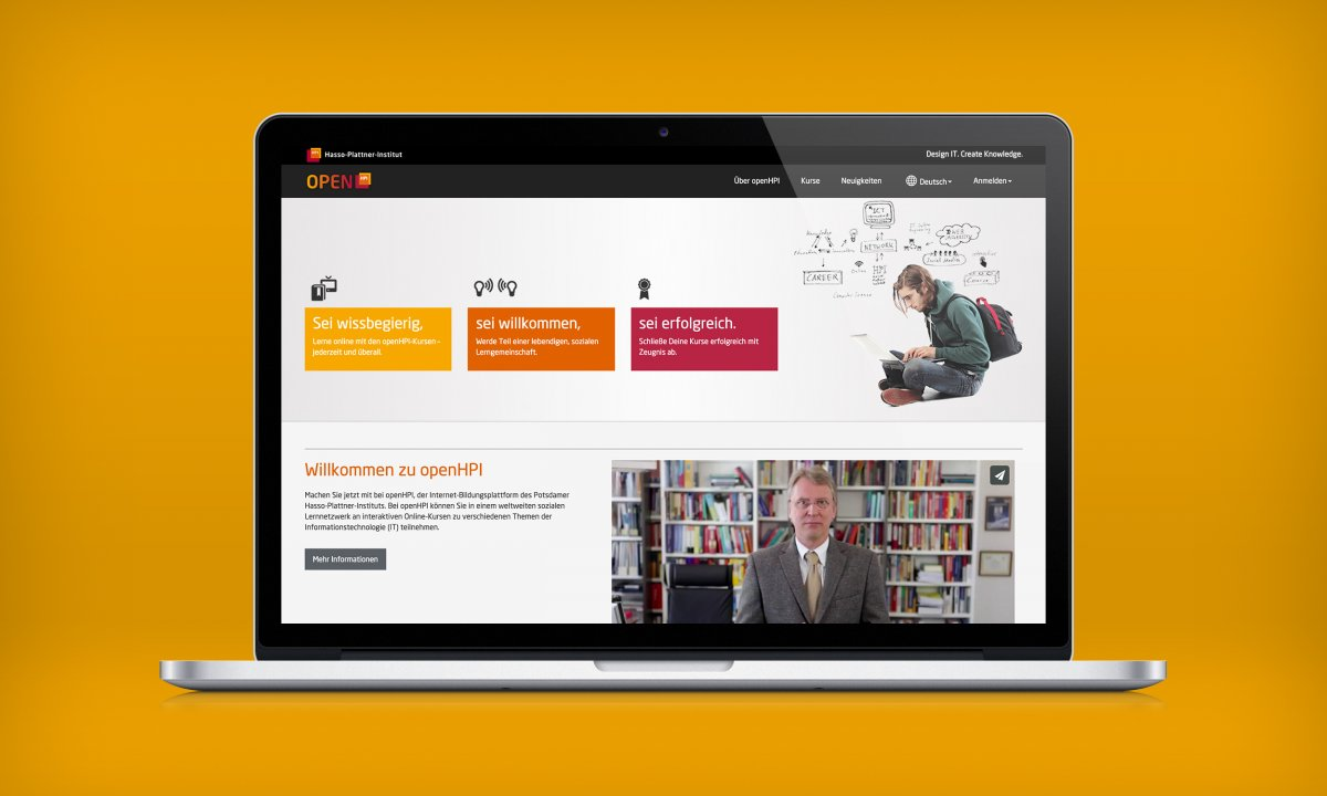 landing page, open HPI, e-learning, Design Award, tutorial